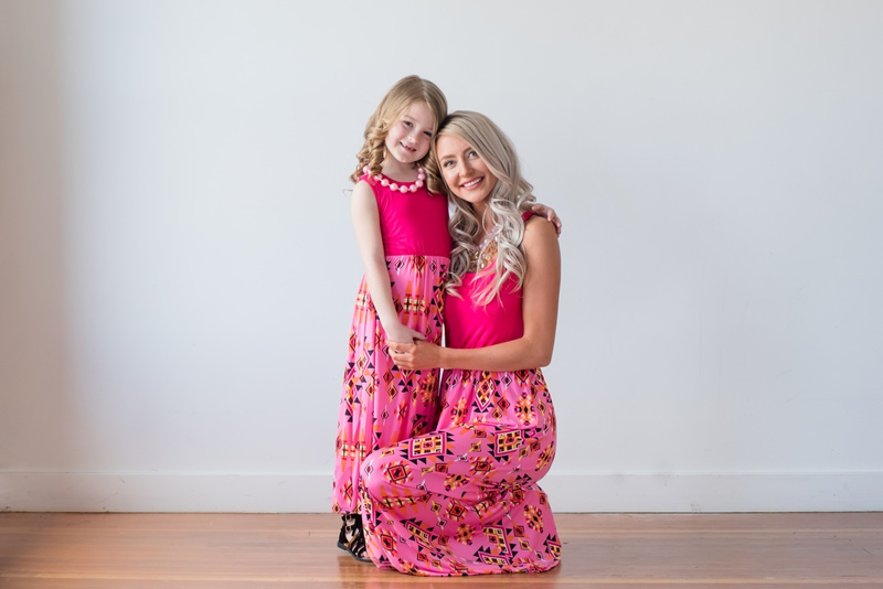 Mother And Daughter Geometric Dresses 2018 Family Matching Clothes Kids Parents Matching outfits Mommy And Me Dress