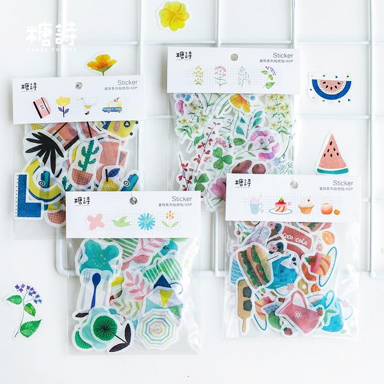 40pcs/pack Beautiful Island View Decorative Washi Stickers Scrapbooking Album Stick Label Diary Stationery