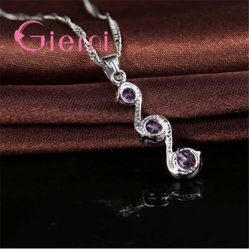 Original 925 Sterling Silber Hochzeit Engagement Schmuck Sets Für Frauen Mädchen Damen Anhänger Halskette Hoop Ohrringe Freies Verschiffen