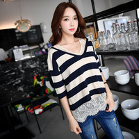 DABUWAWA Original 2017 Brand Pullover 2 Pieces Set Fashion V Neck Patchwork Lace Spring Autumn Knitted