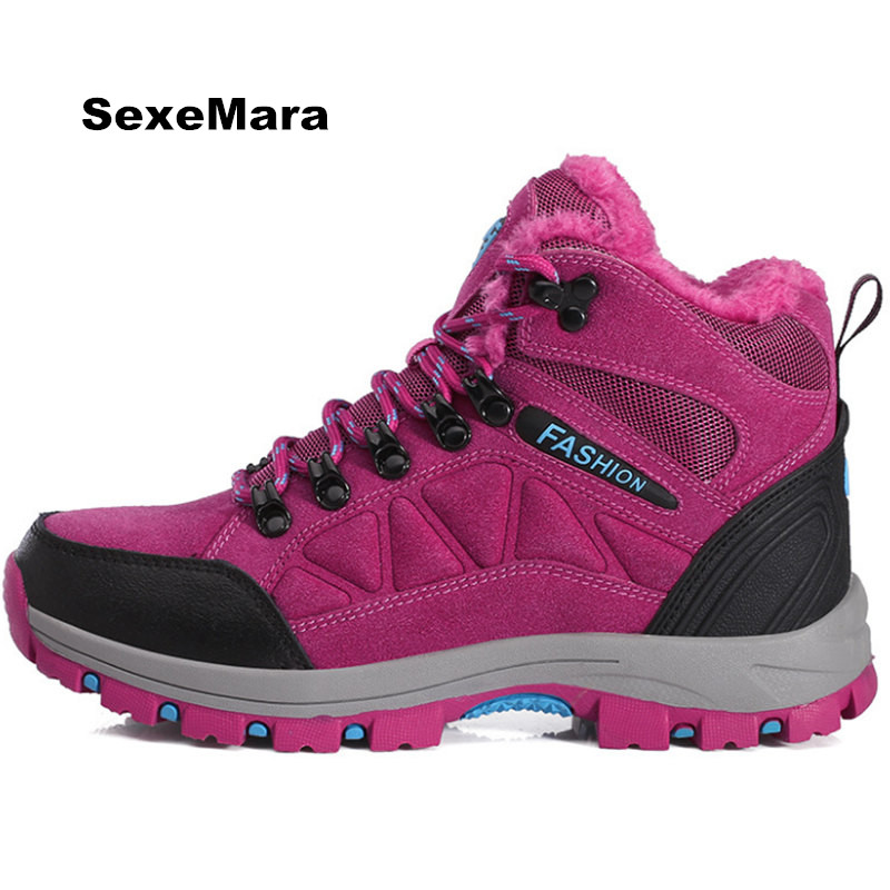 купить High quality hiking Women shoes on foot Winter warm Anti-skid Off-road Men Sneakers Unisex Sport shoes jogging arena Trainers дешево