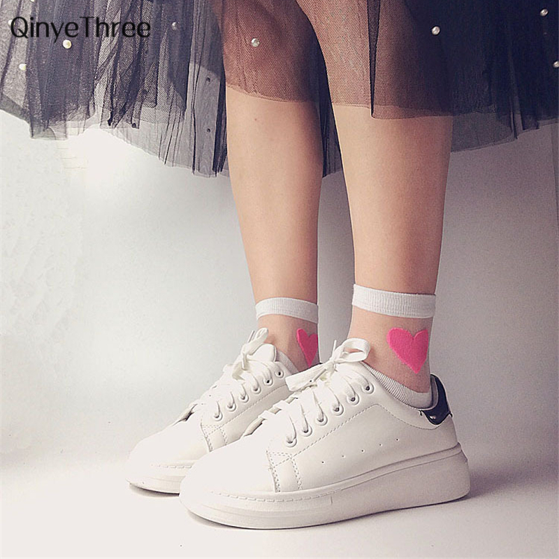 Cute Fashion Sexy Transparent Love Heart Women   Socks   Girls Comfortable Soft Heart Pattern Meias Cotton Bottom Calcetines Mujer