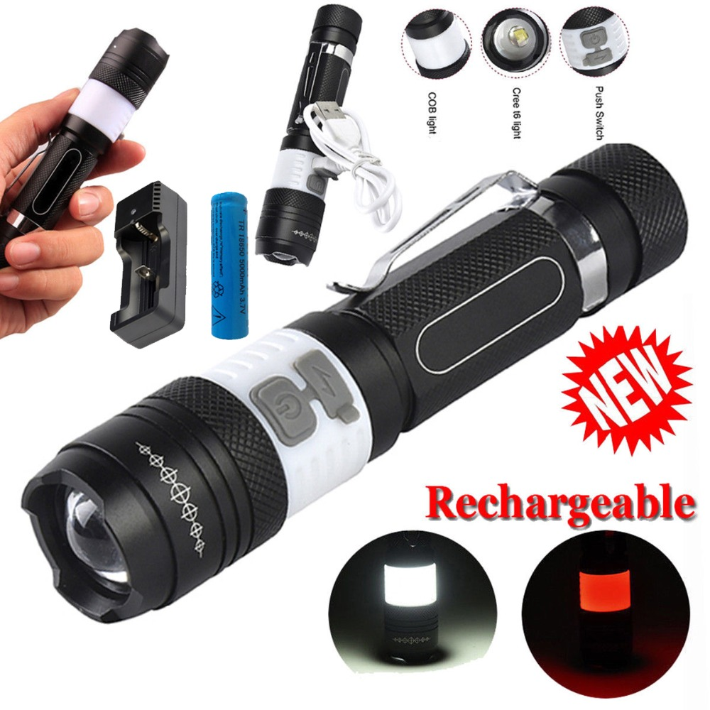 6000LM CREE XM-L T6 Portable COB LED Flashlight 6 Mode Torch Rechargeable 18650 Battery Camping Lamp Lanterna USB charger