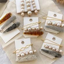 1 Set Fashion Korea Style Metal Gold Pearl Irregular Acetate Hair Clip for women girl Hair Accessories(China)