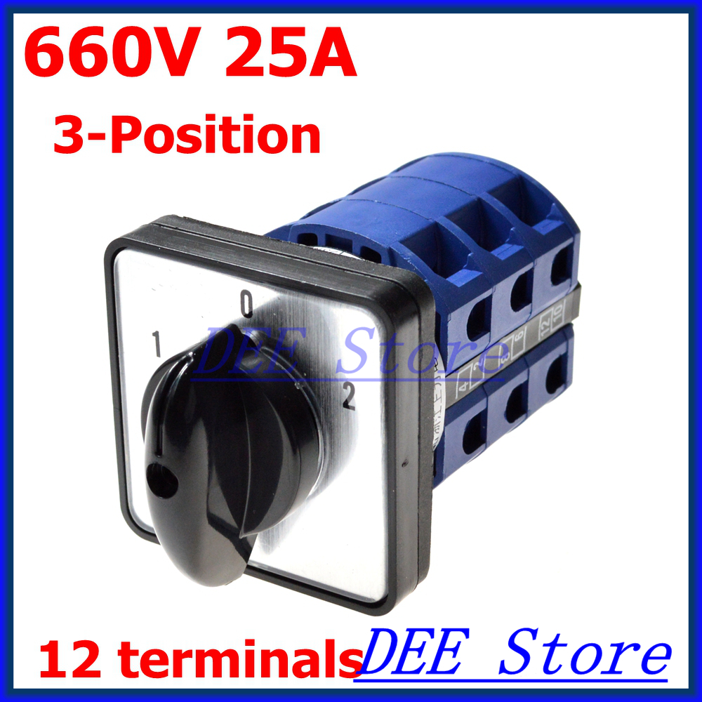 660V 25A 12 Terminal 3 Position Rotary Contarol Cam Universal Combination Switch ui 660v ith 20a 2 positions rotary cam universal combination switch