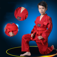 Taekwondo Suit Karate Uniform For Kids & Adult Karate Gi White and Red Cotton Martial Training Suit with Belt for Kids Training