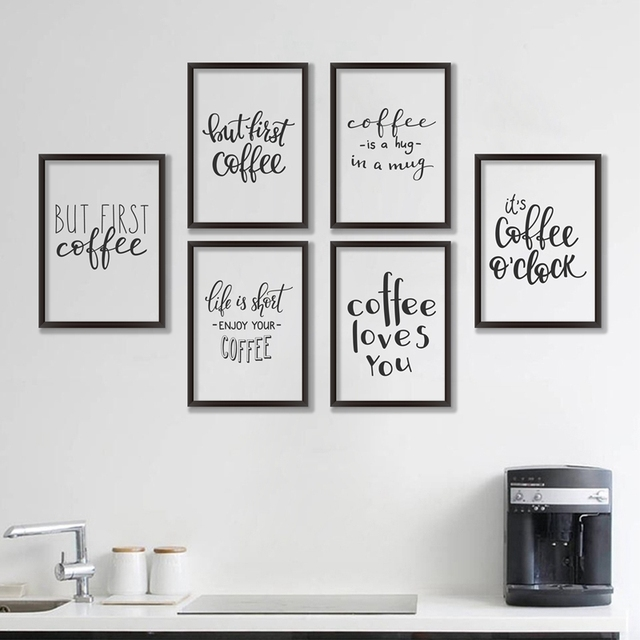 Coffee Quote Canvas Art Print Poster, Simple Style Wall Pictures For Home Decoration  Coffee Wall