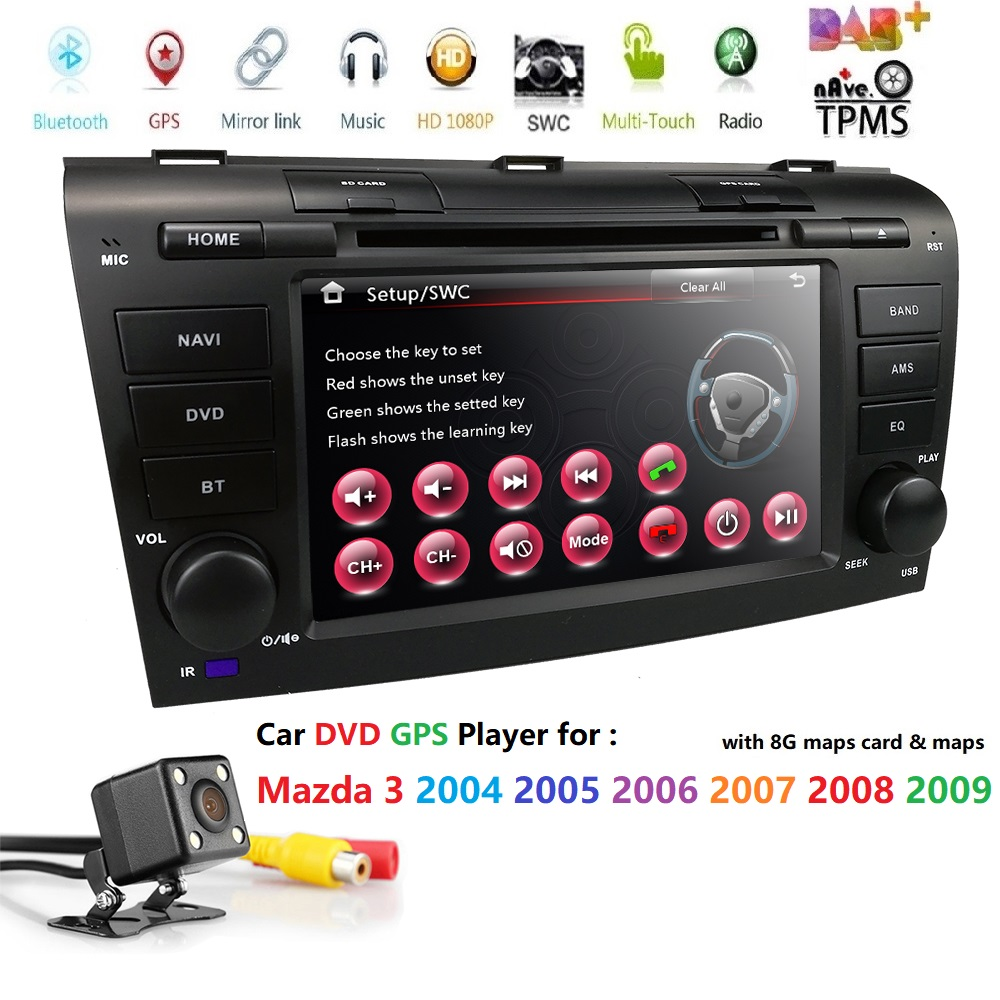 7' pour Mazda 3 2004-2009 Double 2 Din Radio USB SD iPhone SD 1080 P AV-IN Bluetooth commande au volant système multimédia DAB +