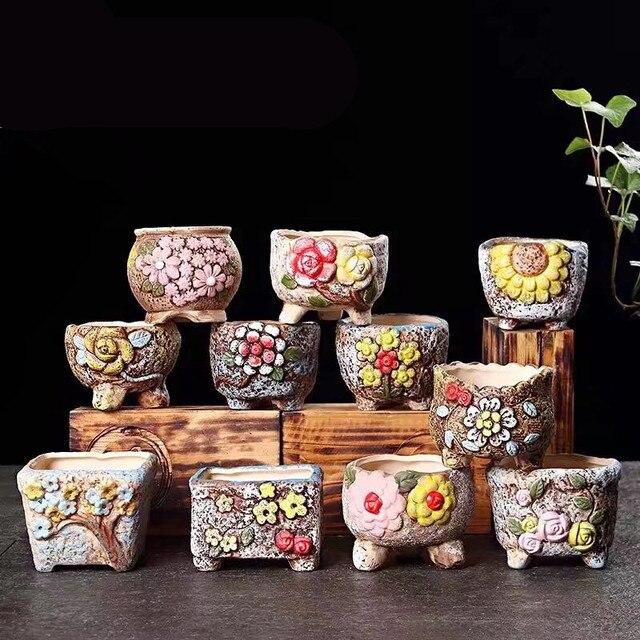 Us 149 Sadzarka śliczne Ręcznie Malowane Soczyste Roślin Doniczka Klasyczne Retro Oryginalność Ceramiczne Kwiatów Ogród Puli Ozdoby Dekoracyjne W