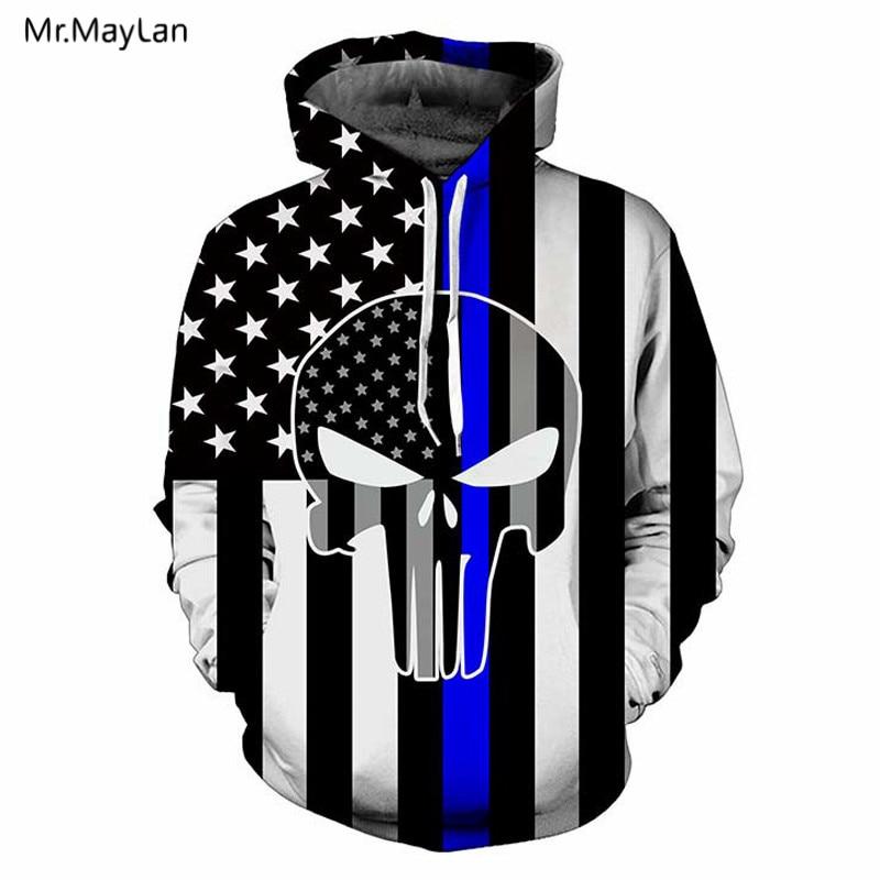 Creative American Flag Skull 3D Print Jacket Men/Women Vintage USA Hipster Pullovers Hat Sweatshirts Boys Hoodies Clothing