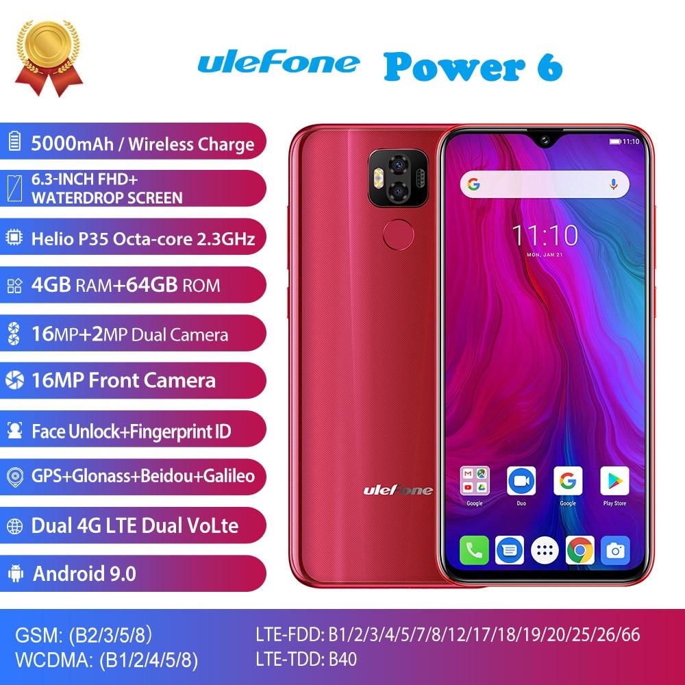 Ulefone di Alimentazione 6 4G LTE Mobile Phone Android 9.0 MTK6765V Octa Core Viso ID Impronte Digitali Smartphone Da 6.3 Pollici 4 GB 64 GB 5000 mAh 16MP