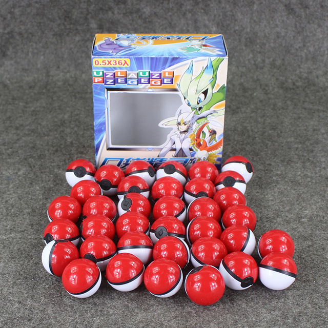 36pcs/lot Anime Cartoon Mini ball High Quality PVC ball Toy with Free elf and stickers