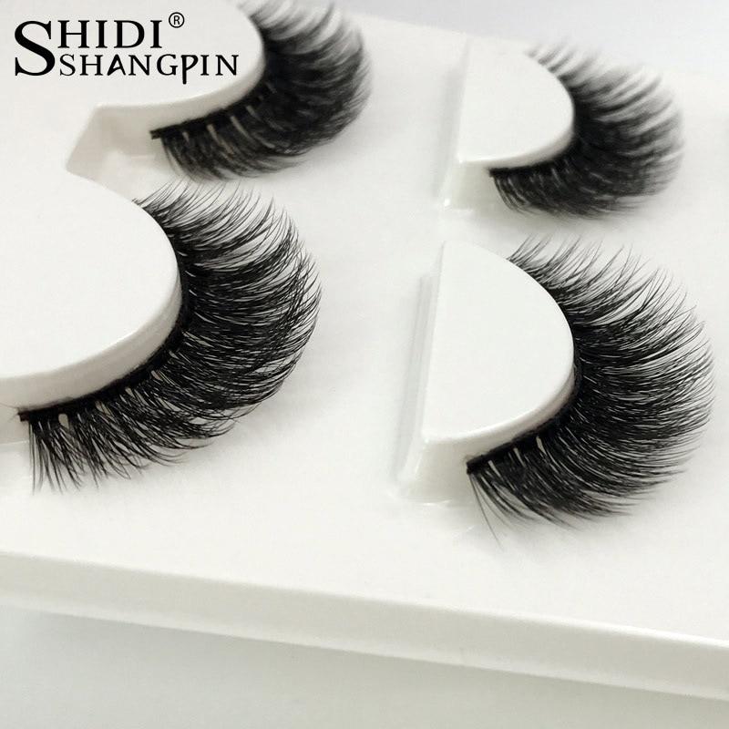 SHIDISHANGPIN 3d mink false eyelashesNature Crisscross hand made eyelashes full strip lashes faux cils eyelash 3pairs