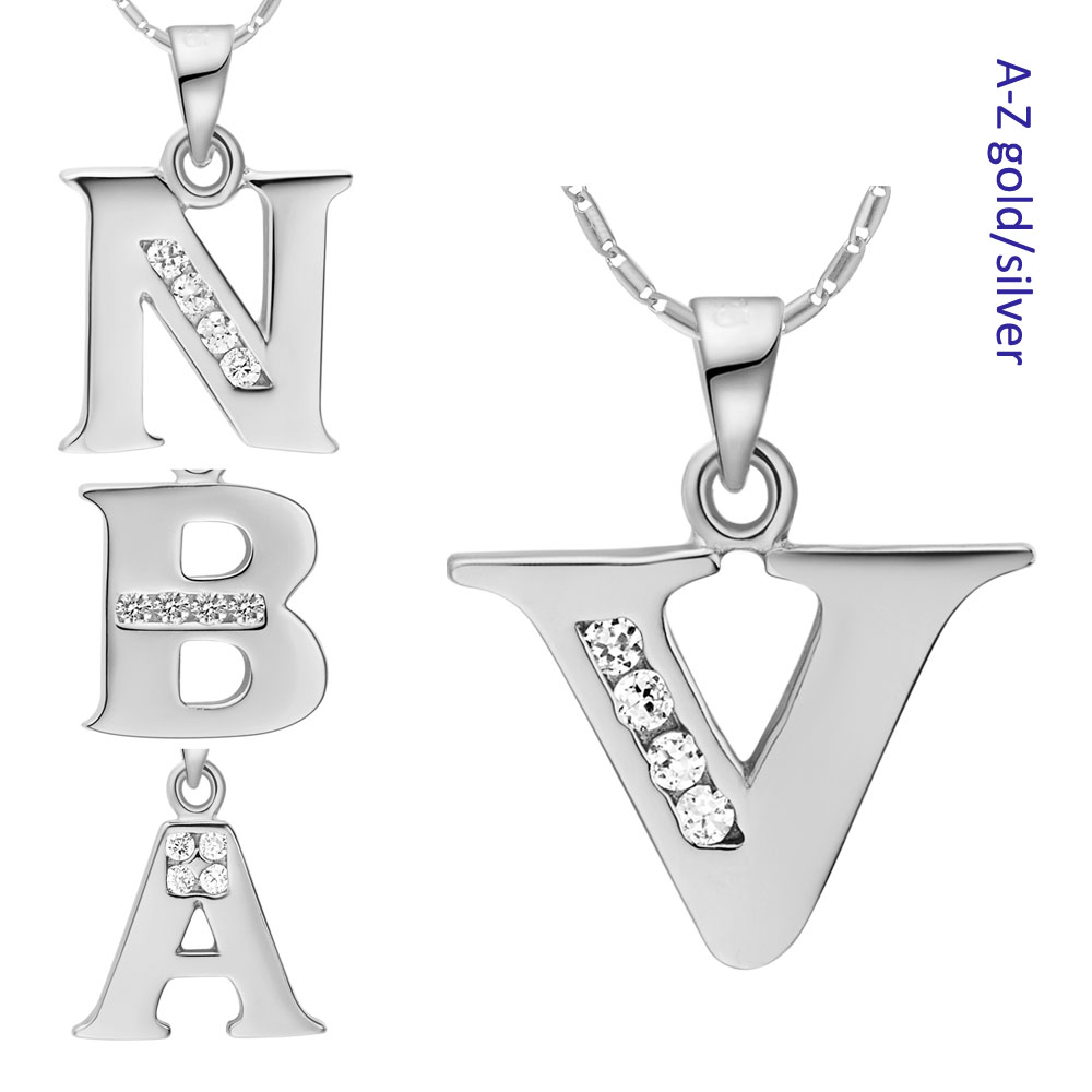 Wholesale Letter A B C D E F G H I J K L M N O P Q I S T U V W X Y Z Necklaces for Women SILVER Fashion Jewelry