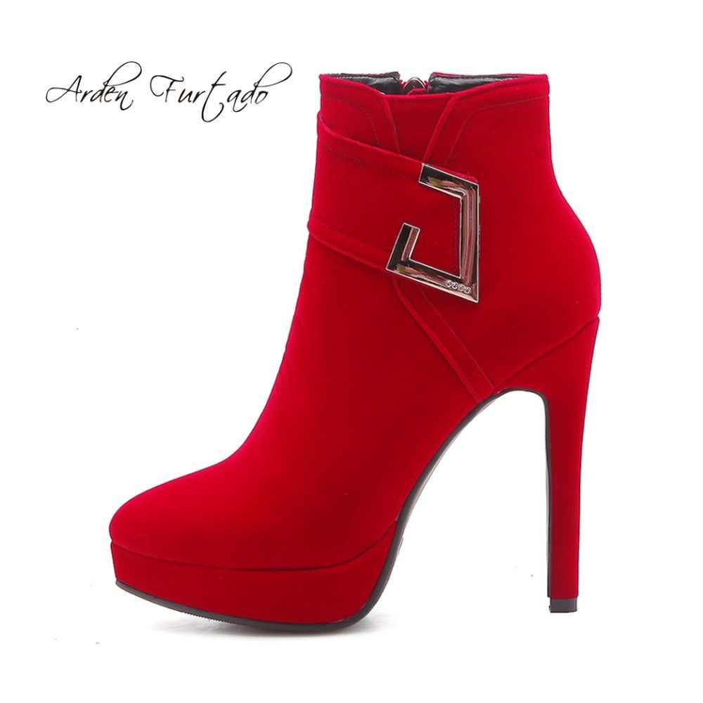 Arden Furtado 2018 mùa xuân mùa thu mùa đông cao gót 13 cm thời trang khóa màu đỏ dây đeo giày cao gót phụ nữ phụ nữ nền tảng mắt cá chân khởi động mới