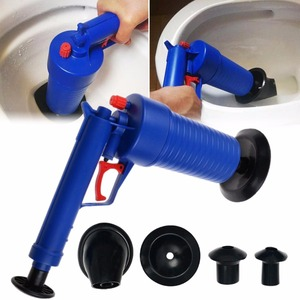 Image 3 - Air Power Drain Blaster Gun High Pressure Powerful Manual sink Plunger Opener cleaner pump for Bath Toilets Bathroom Shower
