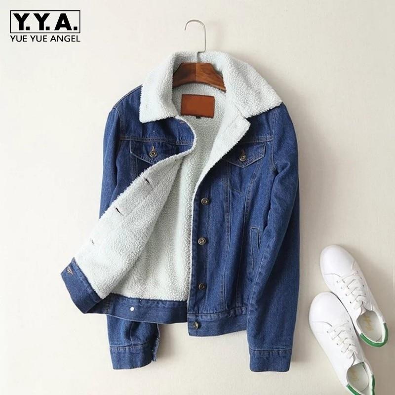 Lana Jeans Cappotto Blue Donne Solido Spessore Streetwear Casual Di Blu Mujer Sottile Agnello Giacca 2019 Nuovo Petto Chaqueta Singolo Inverno Femminile Delle azYzw