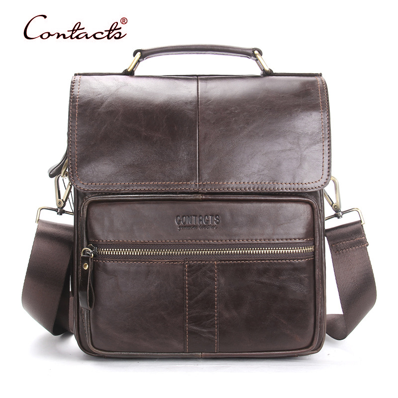 CONTACT'S Men Genuine Leather Bags Messenger Crossbody Shoulder Bag Briefcase Business Tote Handbags Vintage Famous Brand 2017 mva genuine leather men bag business briefcase messenger handbags men crossbody bags men s travel laptop bag shoulder tote bags