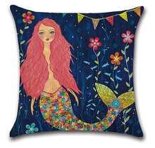 2pcs Mythology Mermaid Cushion Cover Cotton Linen Throw Pillows for Sofa Home Decor Decorative Pillow Cover цены