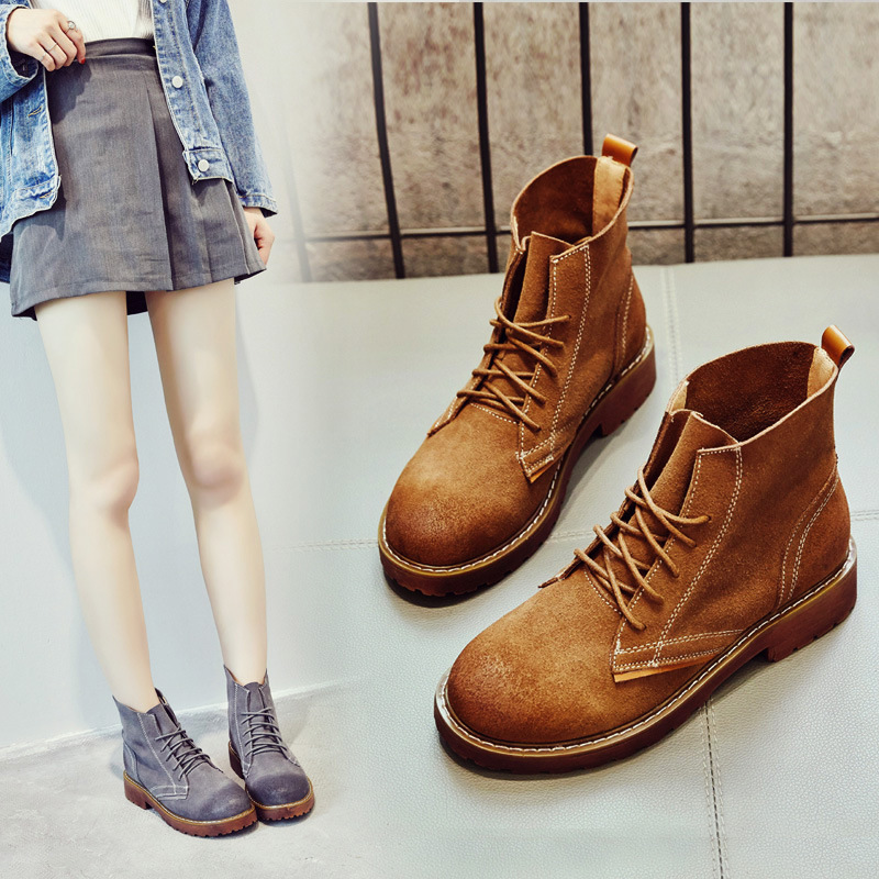 Spring Autumn Womens Ankle Boots Cow Leather Handmade Women Shoes Fashion Motorcycle Boots Retro Martin Boots Feminino new womens ankle boots spring autumn cow leather shoes handmade brand women motorcycle boots winter keep warm snow boots