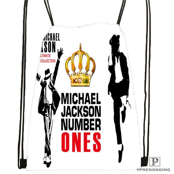 Custom Michael Jackson Drawstring Backpack Bag Cute Daypack Kids Satchel (Black Back) 31x40cm#20180611-02-64
