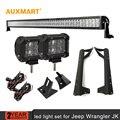 """Auxmart 52 """"300 Вт Combo Луч Светодиодные Бар 2x30 Вт Потока 4D лен Чипы Свет Работы + Монтажный Кронштейн для Jeep Wrangler JK 2007-2015"""