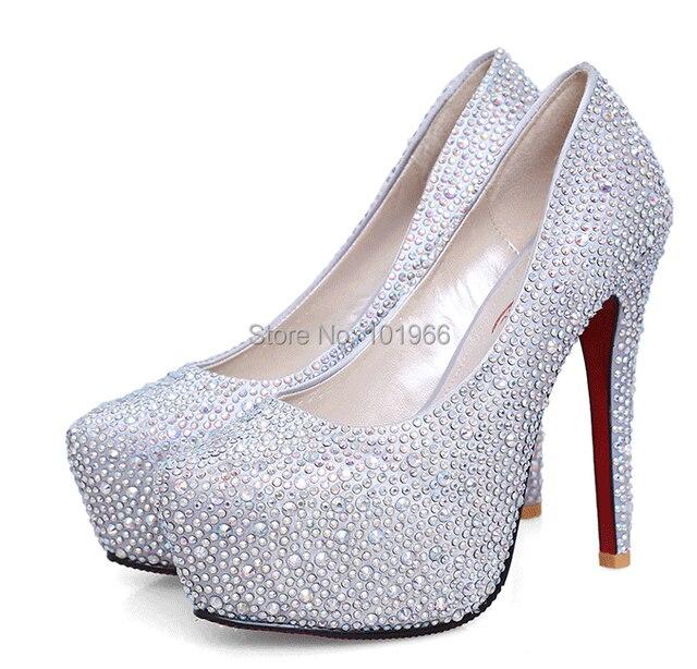 Free Shipping 11 14cm Fashion Lady Sparkly Upper Stiletto Heels Rhinestone  Shoes Crystal Shoes Wedding Shoes Platform Pumps 2f977260feb9