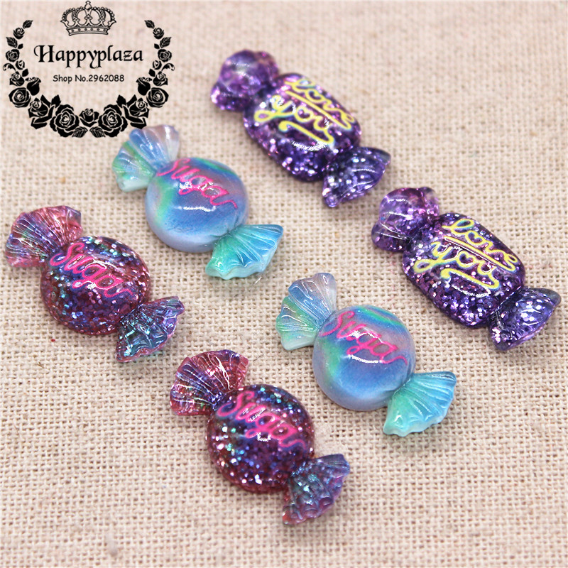 20pcs Resin New Glitter Sugar Sweet Candy Simulation Food Art Supply Decoration Charm Craft,13*25mm