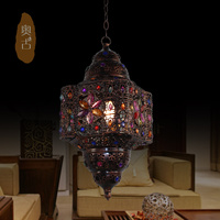 Fashion Vintage Lighting Beaded Iron Pendant Light American Rustic Lamp Lamps