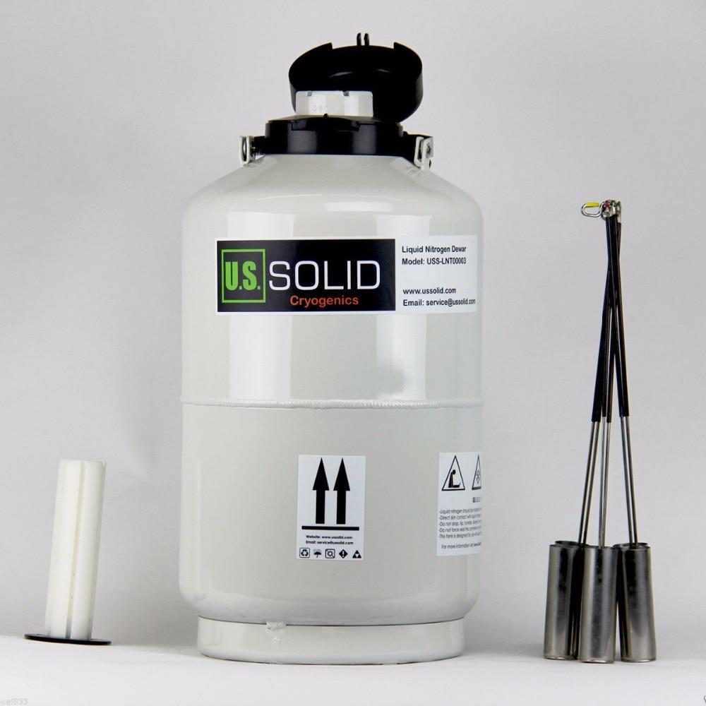 U.S. Solid 10 L Liquid Nitrogen Container Cryogenic LN2 Tank Dewar LN2 Liquid Nitrogen Tank 6 Canisters