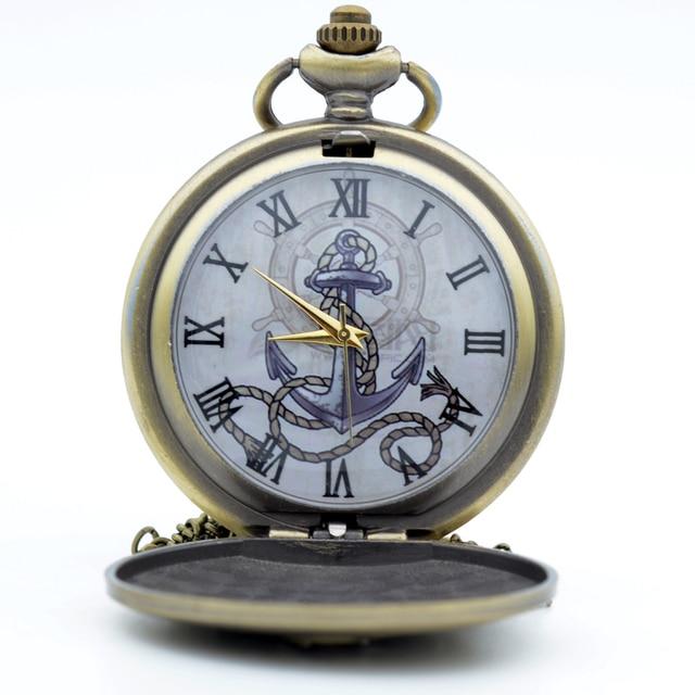 Fashion Bronze The Rudder Anchors Roman Numeral Dial Quartz Pocket Watch Analog