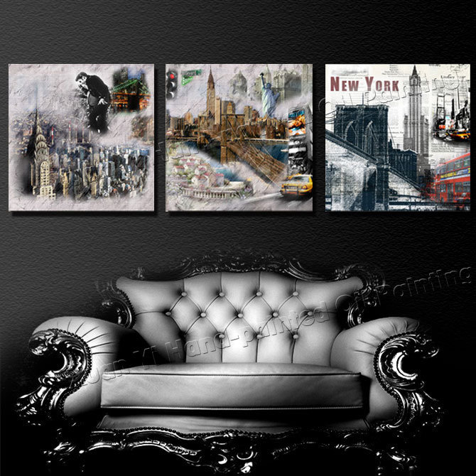 3 Piece Movie Poster Modern Wall Painting New York City Scenery Home Decor Picture Oil Painting Prints On Paintings(No Frame)