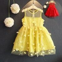 Estate di modo 3d della farfalla del ricamo della maglia delle ragazze della principessa vestito dal tutu del capretto dei bambini dell'abito di sfera 80-125 cm