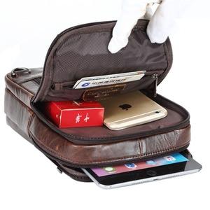 Image 5 - Bandolera de hombro de cuero Vintage para hombre, bolso de viaje, de negocios, negro