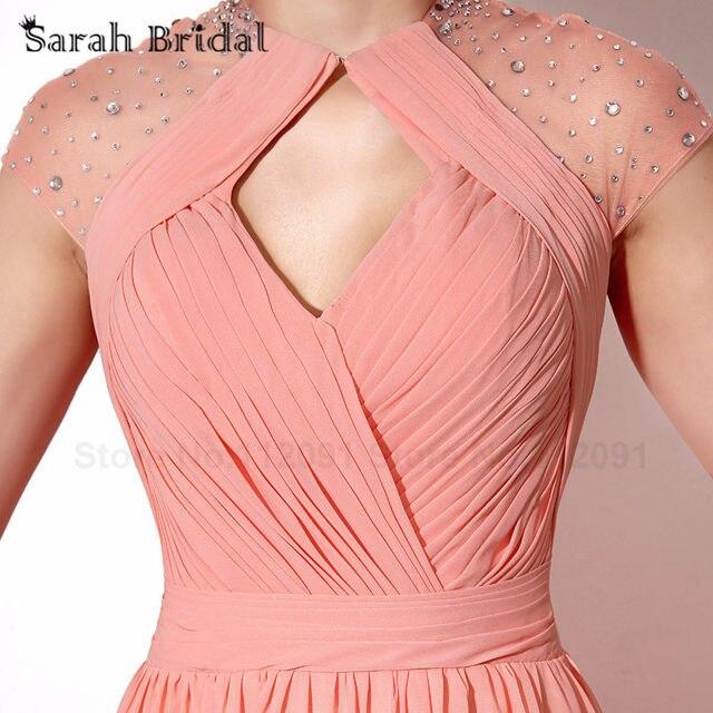 Tienda Online Coral gasa plisada Vestidos de baile detrás cortados ...