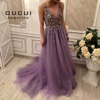 Oucui Real Photo Ball Gown Spaghetti Strap Illusion Long Evening Dress 2019 Hand Work Beaded Deep V neck Prom Dresses  OL103012 - DISCOUNT ITEM  49% OFF All Category