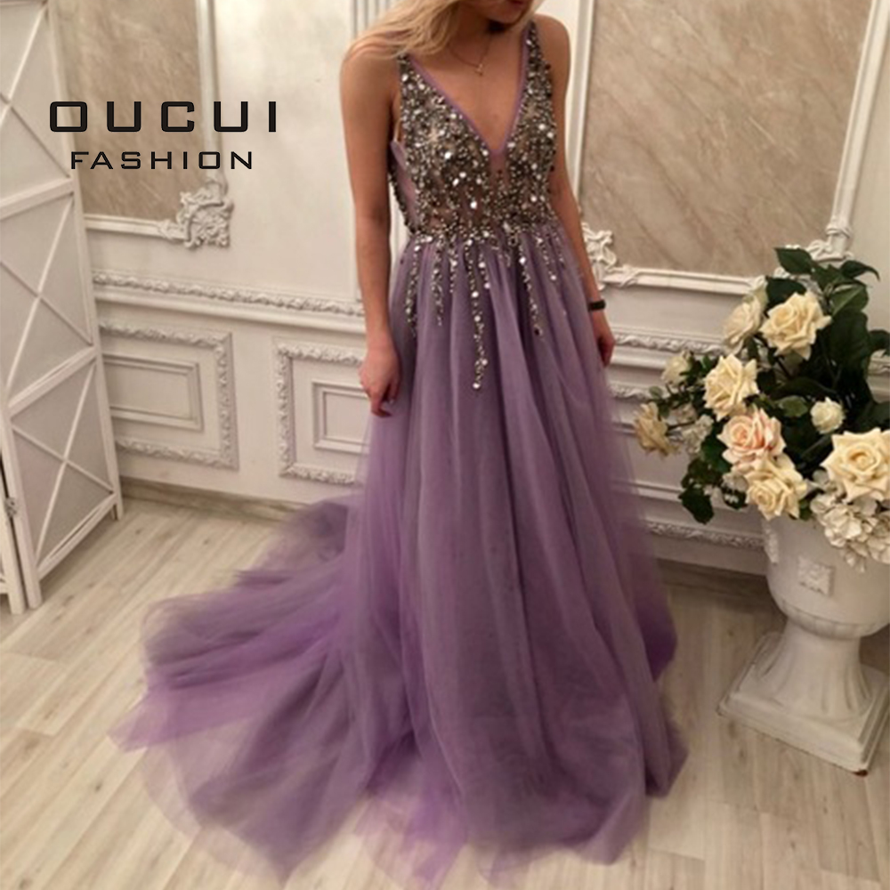 Real Photo Ball Gown Spaghetti Strap Illusion Long Evening Dress 2019 Hand Work Beaded Train Deep V Neck Prom Dresses  OL103012