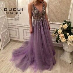 Real Photo vestido de baile Spaghetti Strap Illusion Trabalho Mão Frisada Train Longo Prom vestido de Noite 2019 V Profundo New OL103012