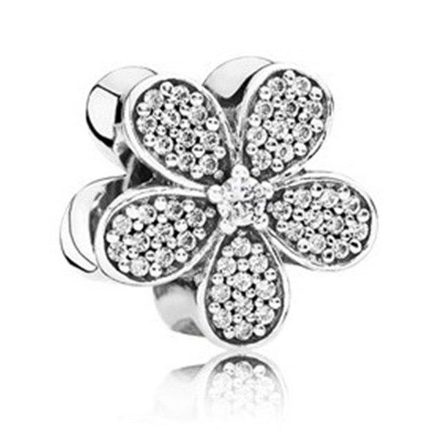 79e5b8b81d27 Full Crystal 925 Sterling Silver Dazzing Daisy Charm Bead Fit Original  Pandora Bracelet Bangle Necklace Women