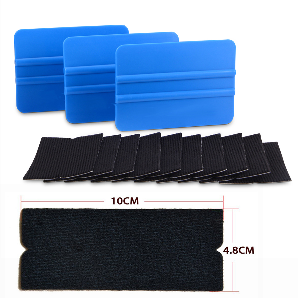 FOSHIO 10pcs Carbon Fiber Squeegee Felt Fabric Cloth+3pcs Vinyl Car Wrap Scraper Window Tint Wrapping Car Tools House Cleaning