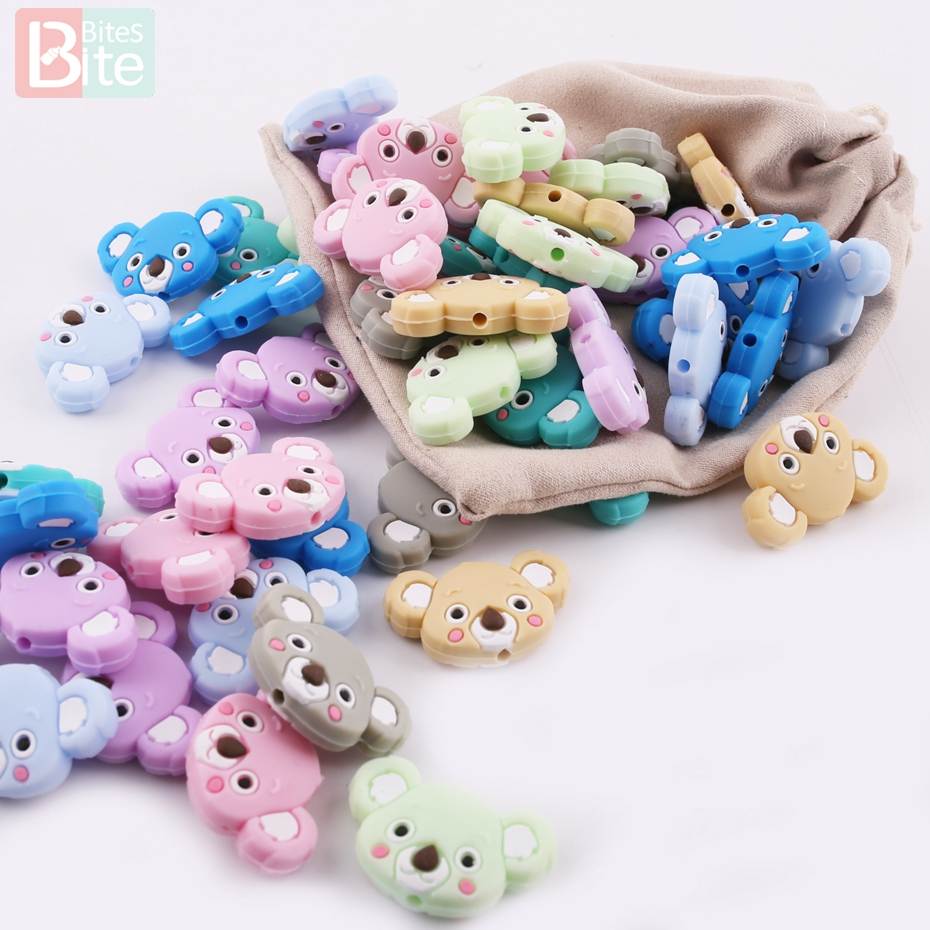 Bite Bites Baby Nursing Gifts Silicone Pendant 3pcs Food Grade Silicone Mini Koala DIY Teething Jewelry Beads Teether ...