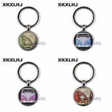XKXLHJ new vintage Hippie Peace Sign Van Bus Keychain Fashion Men Women Purse Bag Car Pendant Key Chain Ring Holder Jewelry(China)