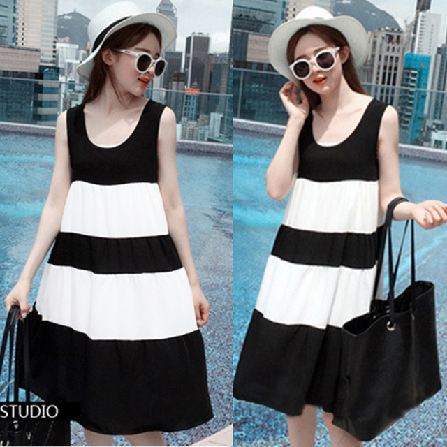 Maternity summer dress pregnant women in the long section of simple stripe mosaic maternity dress pregnancy clothes