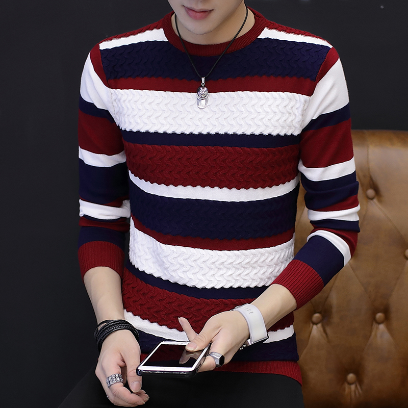 Autumn Thin Men's Crew Neck Pullover, Personality Striped Color Matching Slim Sweater, High Stretch Tight Bottoming Sweater
