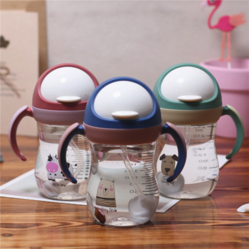 320ml Kids Drinking Water Bottle With Straw Handle Animal Water Bottle Leak Proof Baby Learning Training Tritan Sippy Cup