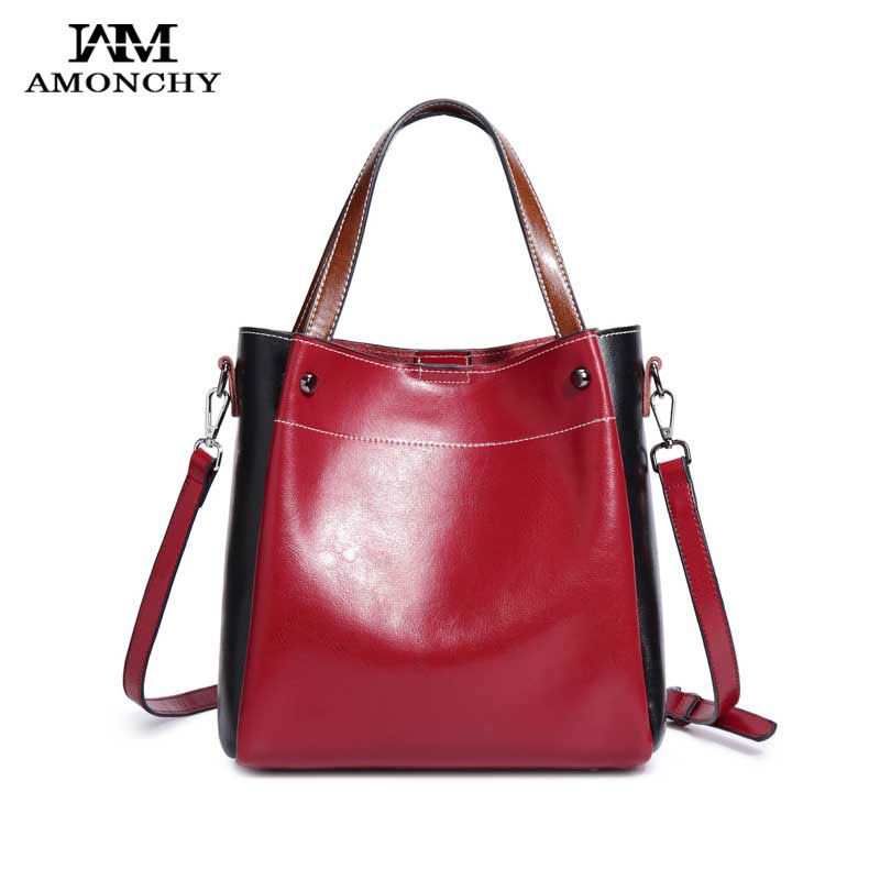 2018 AMONCHY Brand Handbags Women Genuine Leather Shoulder Bags Fashion Panelled Lady Messenger Bag Cowhide Handle Composite Bag 2017 new female genuine leather handbags first layer of cowhide fashion simple women shoulder messenger bags bucket bags