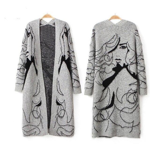 Мода Весна и Осень женская свитер Вязаный Тонкий Свитера Колен Кардиганы Дамы Человеческое Лицо Верхняя Одежда