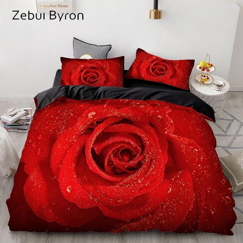 3D Bedding Set AU Custom/Europe,Duvet Cover Set USA Queen/King,Quilt/Blanket Cover Set,Bedclothes For Wedding Red Rose,drop Ship