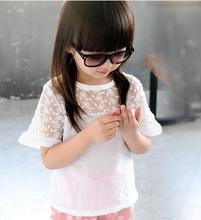 2018 summer children's clothes girls blouses solid short sleeve purfle hollow baby girl blouses for girls kids causal shirts top