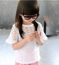 2021 летняя детская одежда Блузка для девочек Однотонная футболка